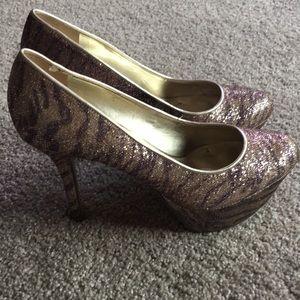 Nine West sparkly tiger stripe platform high heels